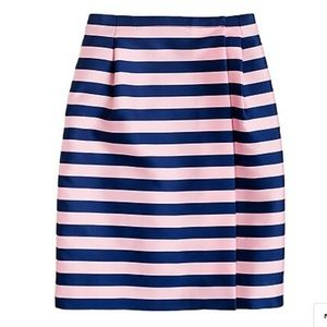 J crew pink and blue striped wrap skirt